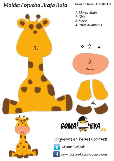 Ya puades descargar el Molde Gratis de la Fofucha Jirafa Goma Eva. ¡Descarga totalmente gratis esta Plantilla de Goma Eva de una Fofucha Plana Jirafa!