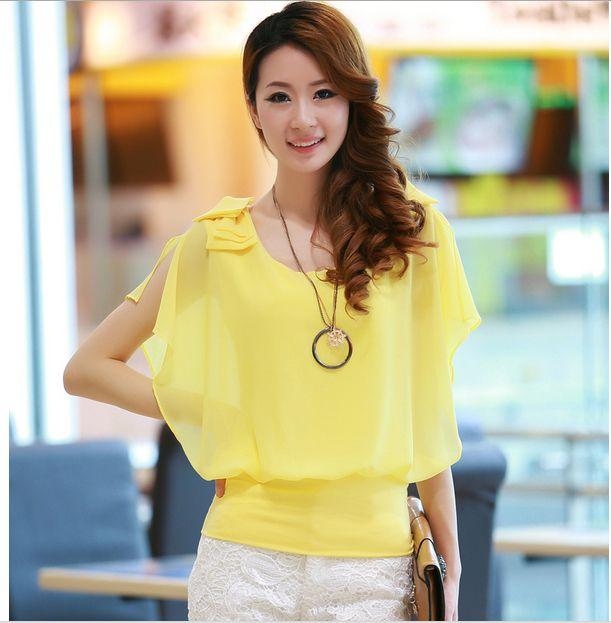 2014 summer new fashion woman flounced chiffon shirt atmospheric sleeved chiffon blouse + necklace US $9.80
