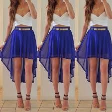 White and blue, High-low skirt with a crop top Crop Tops Outfits, Summer Crop Top Outfits, Fashion Ideas, Blue Skirts, Summer Outfits, Summer Skirts, ...