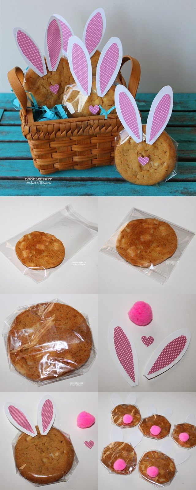 193 best easter giftstreats images on pinterest hoppy easter cookies bunny ear cutouts a basket cellophane and a fuzzy tail and youre all set for easter thanks doodlecraft negle