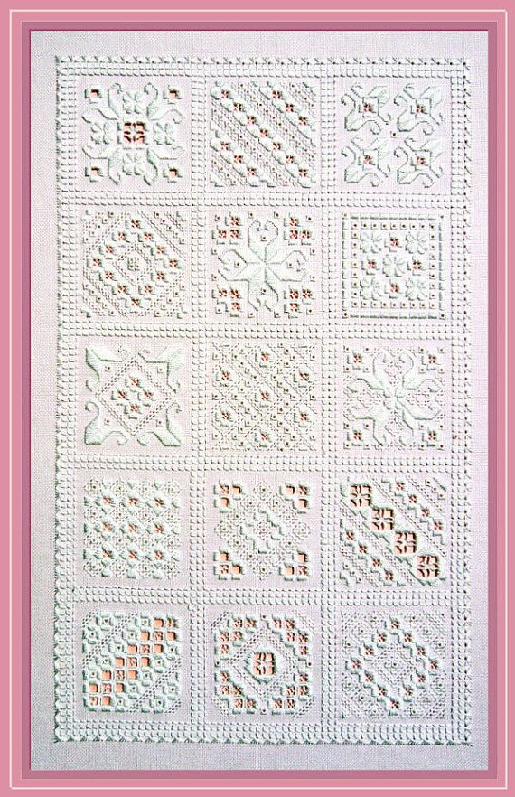 This sampler is one in the true sense of the word. It can be stitched in its entirety for a splendid display of Hardanger motifs, during the working of which you will sample a number of stitches and get to know them very well. Alternatively, you can take each square of design - there are fifteen of them - and use them individually for coasters, cards or biscornus. None of them takes very long to stitch and all are perfect for impressing friends and family