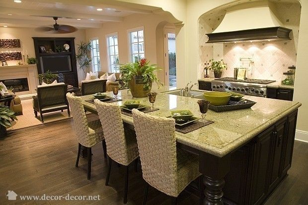 image detail for -traditional, open kitchen to living room - photo