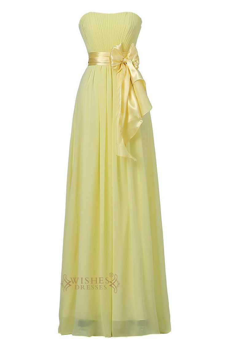Daffodil Strapless Sweetheart Floor Length Bridesmaid Dress With Bowknot Gown For Wedding Am22