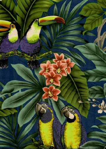 Birds - Parrots and Macaws with orchid flowers, cotton apparel fabric. Find this at BarkclothHawaii.com
