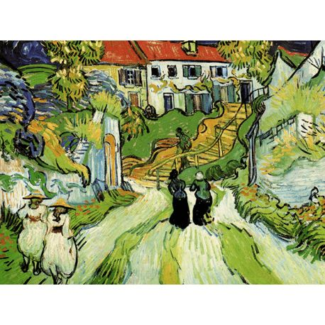 Reprodukcje obrazów Vincent van Gogh Village street and steps in auvers with figures - Fedkolor