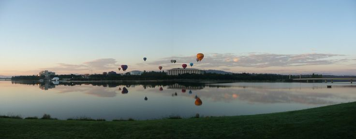 balloons over lake burley griffin