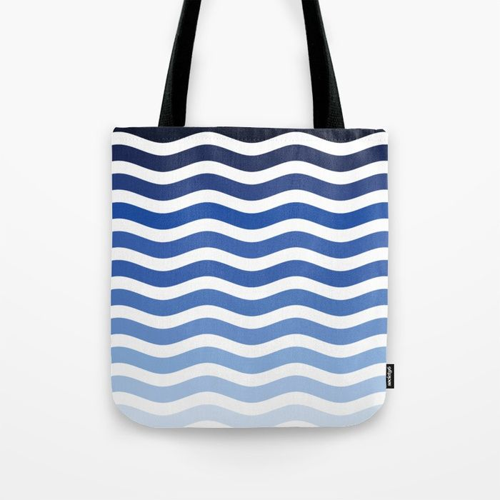 Blue Straps Blue with Three Colored Stripes Tote Bag