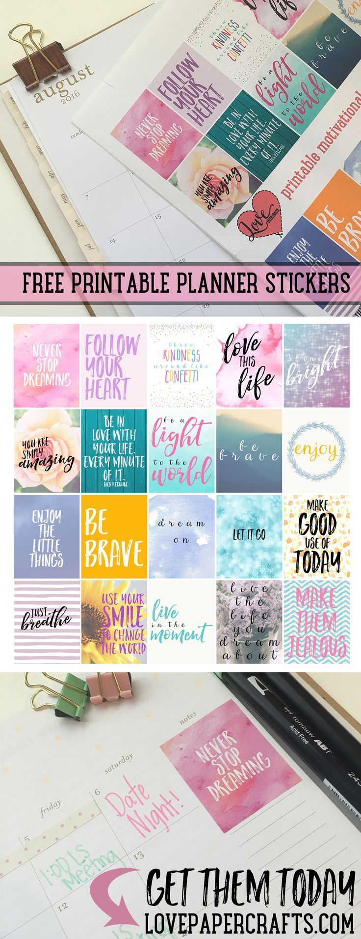 Free printable motivational planner stickers | http://LovePaperCrafts.com