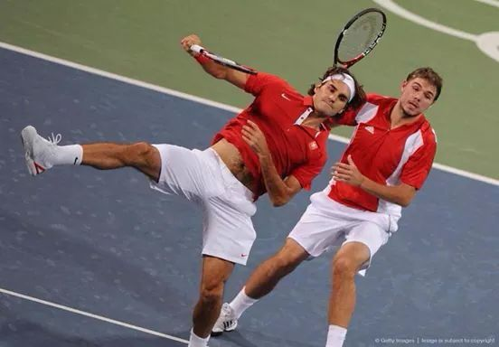 """How cool would it be for the coach today, """"We're going to mix it up a bit, your new doubles partner is ROGER FEDERER!"""" Swiss team Stansilas Wawrinka & Roger Federer"""