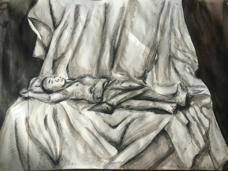 A life drawing that I did this week. I have used conte crayon, ink wash, resists and charcoal.