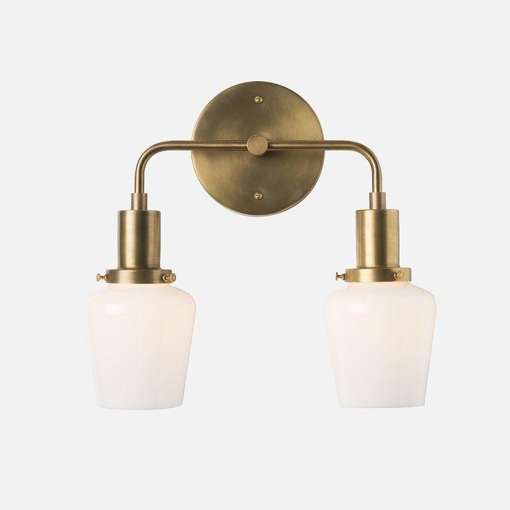 abrams double sconce 225 bathroom sconcesbathroom lightingwall - Double Sconce Bathroom Lighting