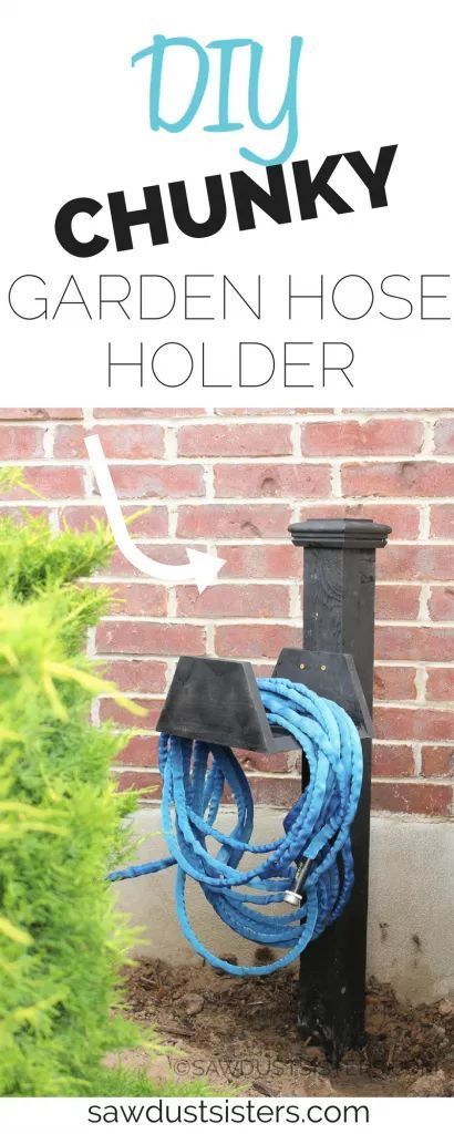 LOVE the chunky look of this garden hose hanger. Definitely making one!!!