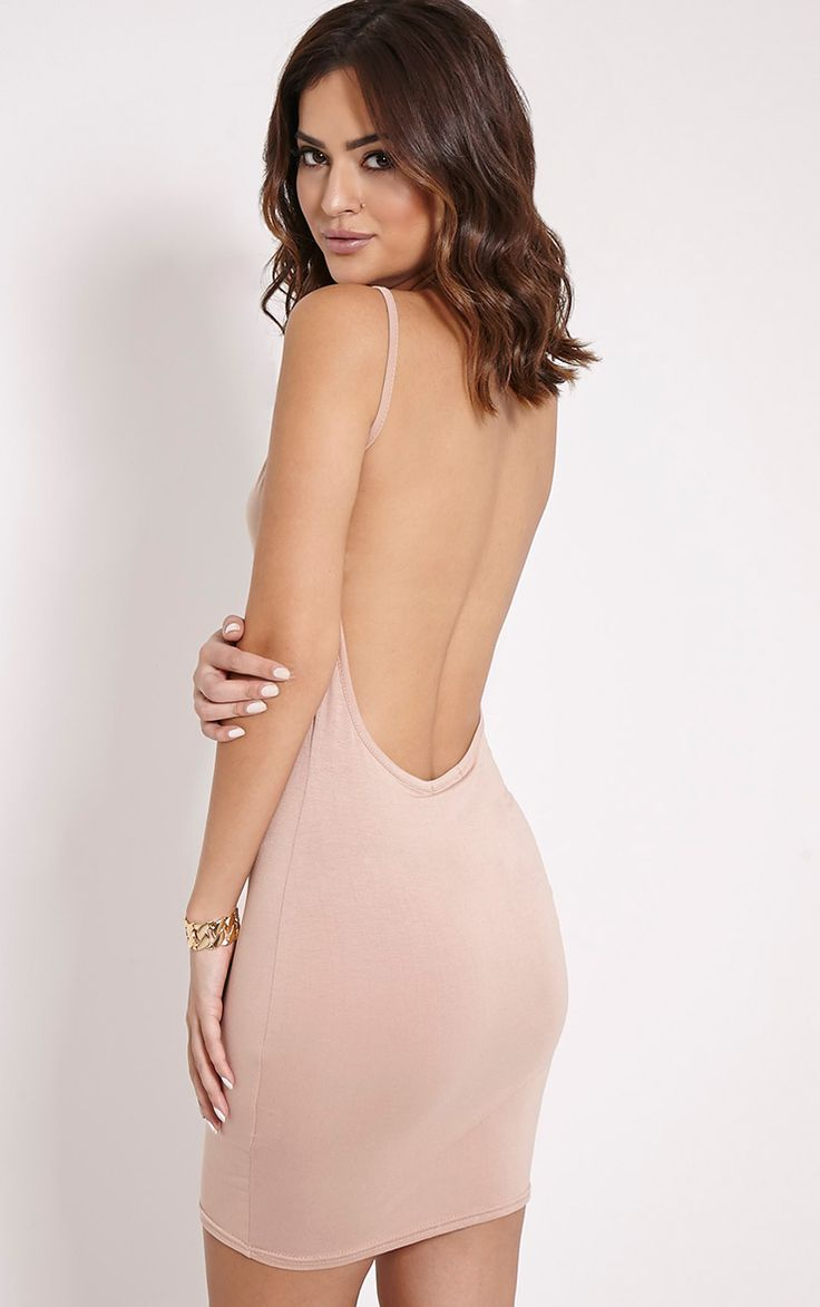 Natallia Taupe Scoop Back Dress