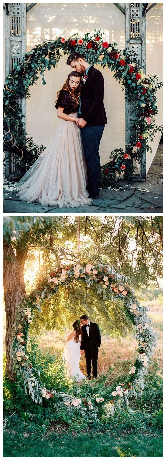 Circle Ceremony Arch = About $1500-2000; about $1300-1800 just greenery only.