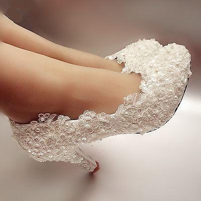Flats/4cm/7cm heel Ivory / white pearl lace Wedding shoes Bridal pumps size 5-12