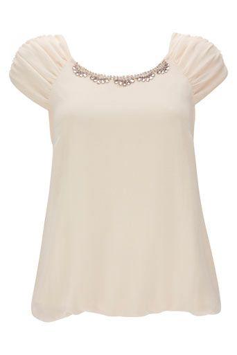 Cream Embellished Blouse - Tops - Clothing