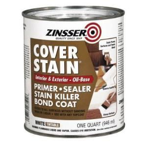 How To Paint Particleboard / Laminate Furniture  This oil based primer is key!  After all the priming was done I applied one coat of Olympic's Zero-voc, white, latex paint in semigloss.  After the paint was fully cured I applied two coats of Varathane Floor Finish