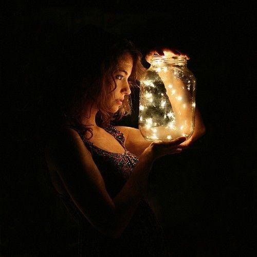 Jar of fairy lights