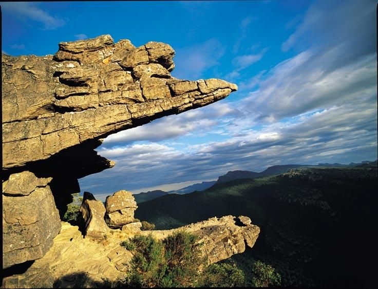 I have walked out onto this ledge in the Grampians.  Very scary looking down.