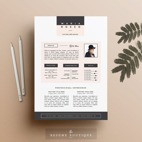 3PK curriculum plantilla CV cubierta de por TheResumeBoutique