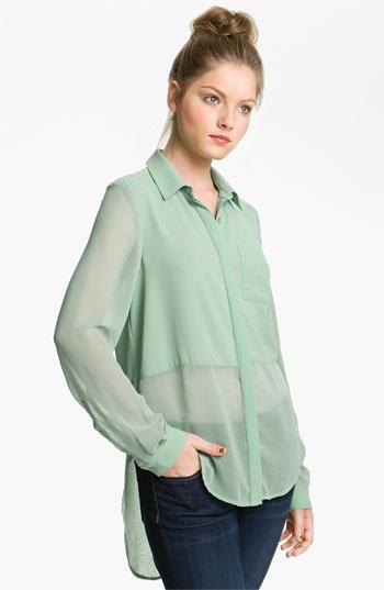 Sheer Panel High/Low ShirtPanels High Low, High Low Shirts, Mint Green, Blue, Colors, Sheer Panels, Burgundy, Black, Combat Boots