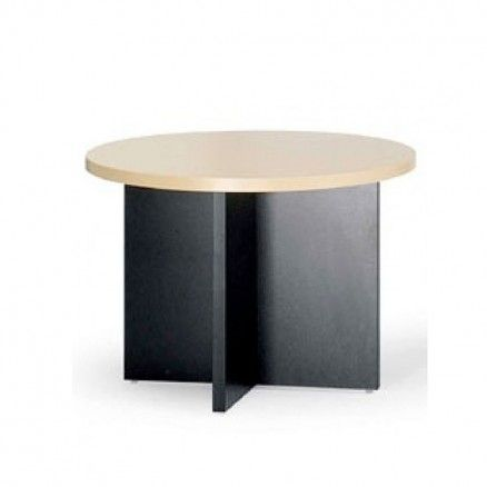 Lacasse Concept 400E - Round meeting table in laminate with X base.  Available for online purchase at Ugoburo.ca