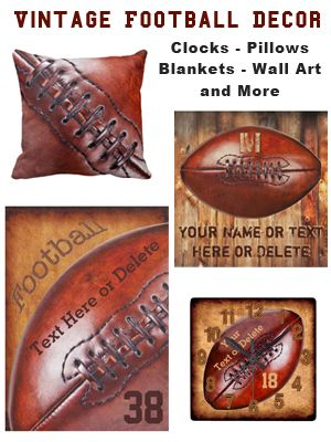 Cool Vintage Football Man Cave Ideas. Personalized Football Man Cave Decor with YOUR TEXT HERE: http://yoursportsgifts.com/custom-vintage-football-decor-man-cave or go directly to our Zazzle Personalized Vintage Sports Gifts HERE: http://www.Zazzle.com/YourSportsGifts Cool men or boys football room decor. Great football Christmas gifts for players with or without YOUR TEXT. CALL Rod or Linda for matching Football Bedroom Ideas and Gifts, HELP or Changes to any of our designs: 239-949-9090