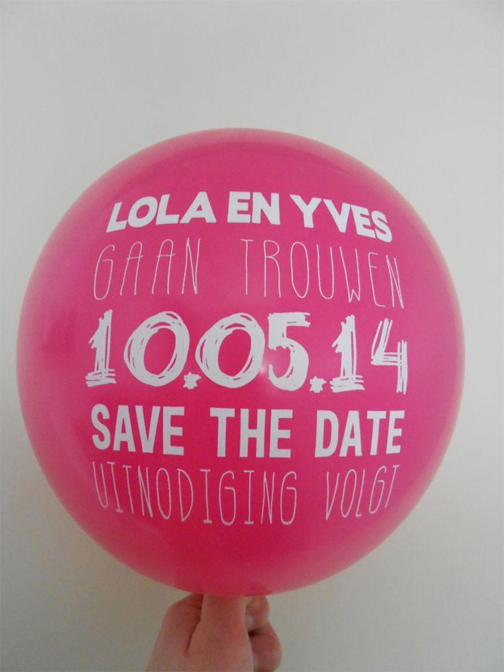 Save the date met ballon van Studio 82