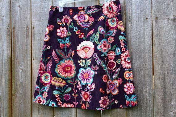 A Line skirt Floral Art skirt, Anastasia in Aubergine, purple and black, Alexander Henry, A-line skirt, women's 2-24