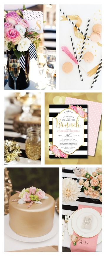 Black and white stripes, pink and gold bridal shower brunch / wedding inspiration. Invitations available at dandylionpaper.etsy.com