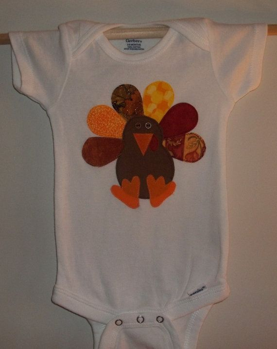 Thanksgiving Turkey Applique Onesie by wreathsNmorebyTerry on Etsy, $8.00
