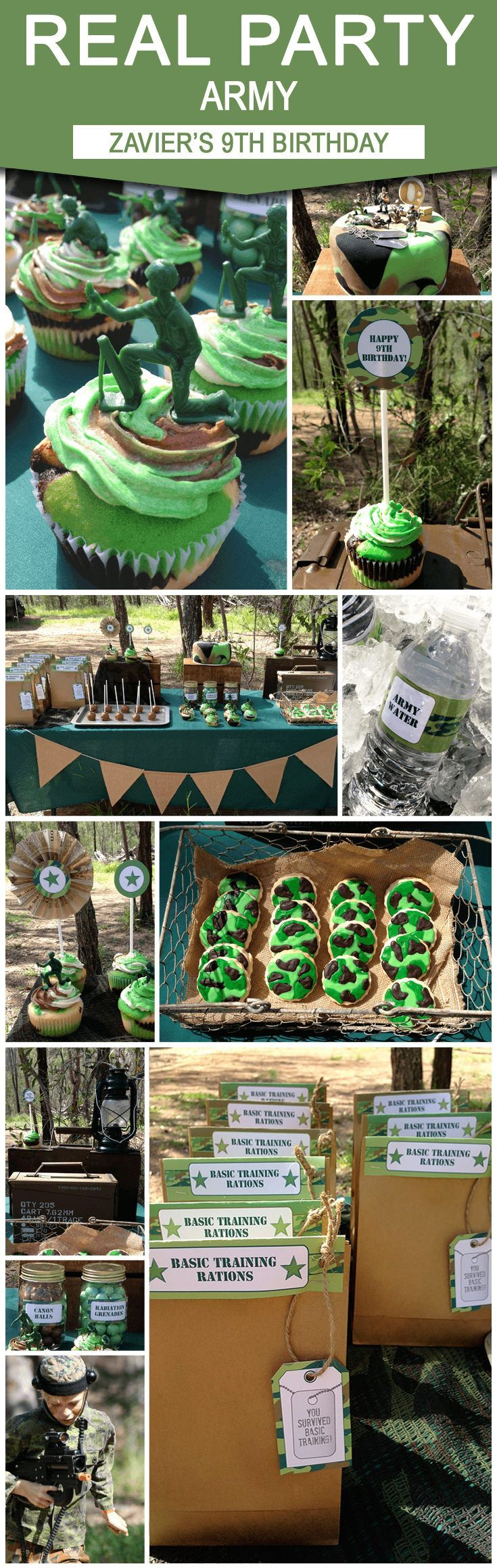 Camo Birthday Party Theme | Zavier's 9th Army Birthday Party from Sarah at Chai Days | Army Party Ideas | Decorated with http://SIMONEmadeit.com DIY Printable Templates