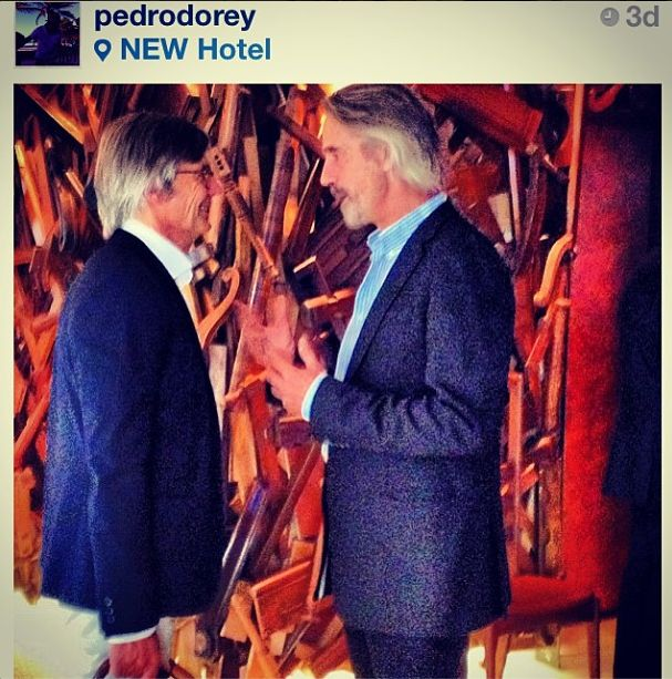 #regram from Pedro d'Orey: Oscar winning Jeremy Irons and Danish Academy Award-winning film director Billie August at #NewHotel #Athens.