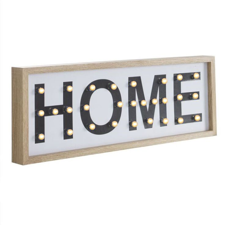 Letrero luminoso Home. Cartel luminoso decorativo Home con led.