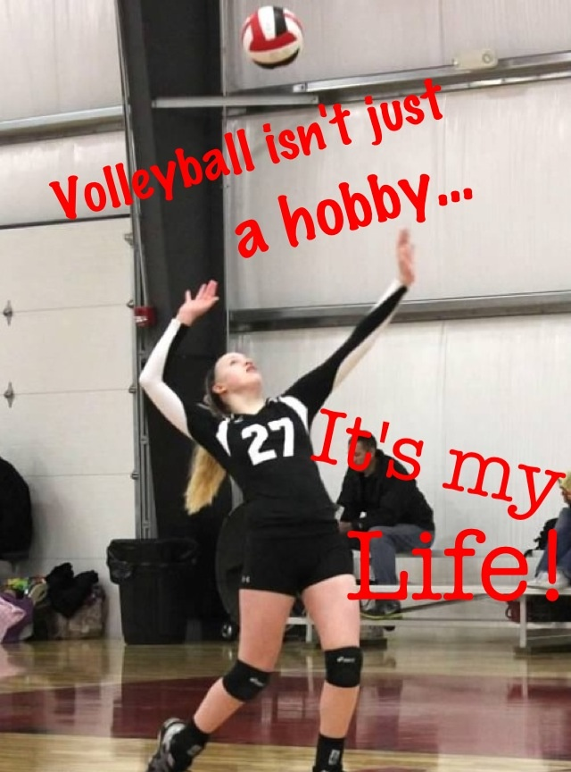 Volleyball serve and quote