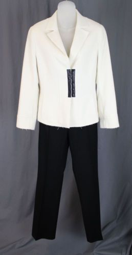 Akris Punto Women's Cream Jacket Blazer Black Pants Wool Blend Pants Suit 6 8