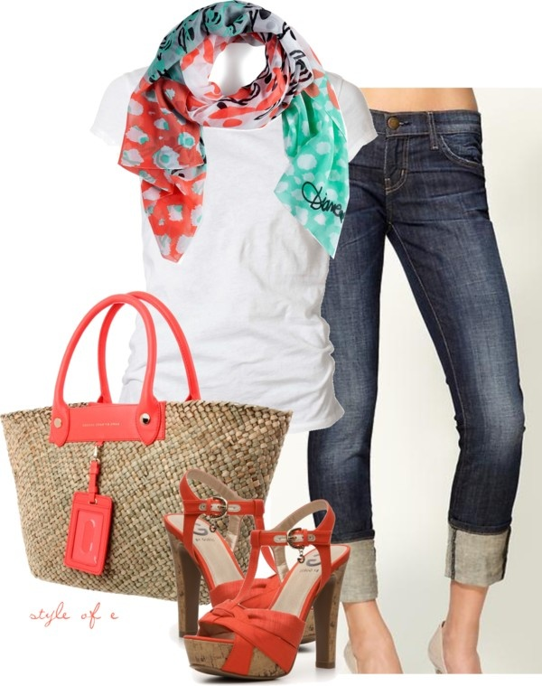 Summer Coral Casual, created by styleofe on Polyvore