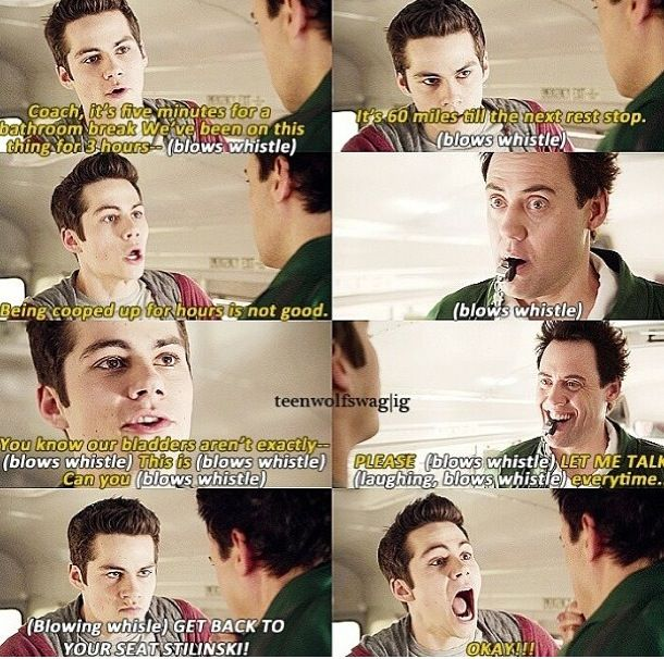 Stiles and Coach  Teen Wolf this was my favorite part haha