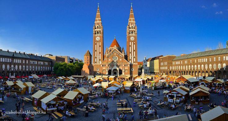 Szeged Hungary - Cathedral  square - Hungary.wine fest  Szeptemberi borfesztivál a városban, ez a Bortér a Dóm téren.