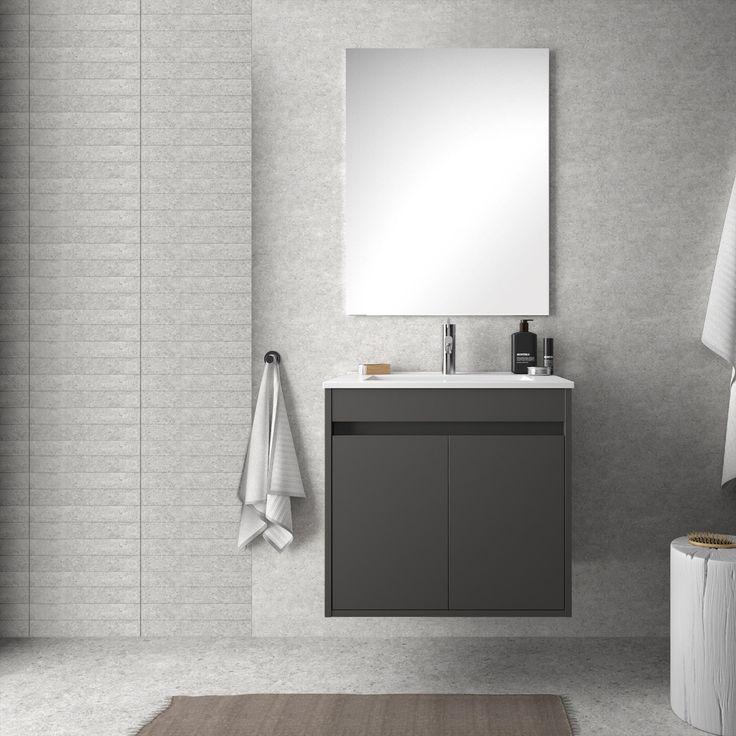 Mobile bagno sospeso grigio opaco da 60 cm Dedalo con