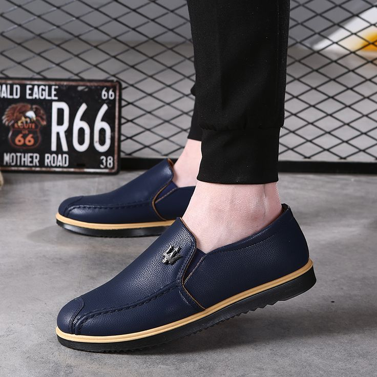 Men Causal Shoes 2017 Pu Leather Loafers for Men Men's Breathable Boat Shoes Male Summer Slip On Flats Shoes 43 44 Plus Size