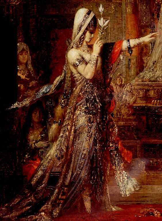 """""""Salomé"""", Gustave Moureau (Dance of the Seven Veils) Is also thought to have originated with the myth of the fertility goddess Ishtar (Astarte) of Assyrian and Babylonian religion."""