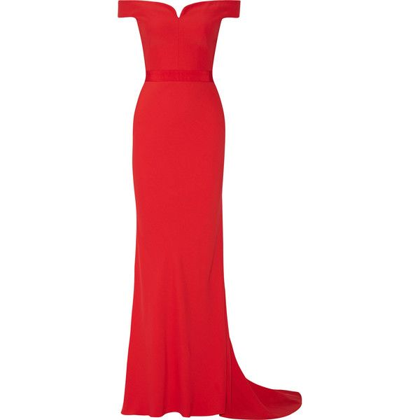 Alexander McQueen Off-the-shoulder crepe gown ($1,870) ❤ liked on Polyvore featuring dresses, gowns, long dresses, alexander mcqueen, vestidos, red evening gowns, red gown, red bustier, red off shoulder dress and red ball gown