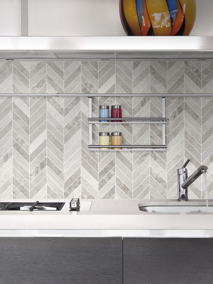 Best Gray Modern Limestone Chevron Backsplash Tile Backsplash 640 x 480