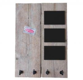 Prikbord steigerhout met krijtbordjes en zwarte haken