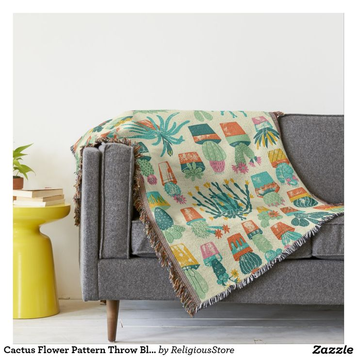 Cactus Flower Pattern Throw Blanket