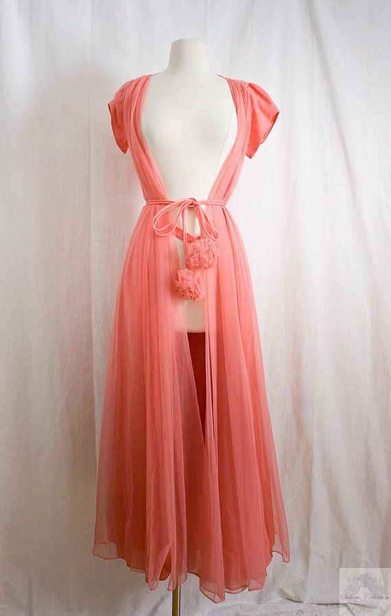 1960's Vintage Couture Lingerie / Peignoir Robe, Pom Pom on Etsy, $400.00