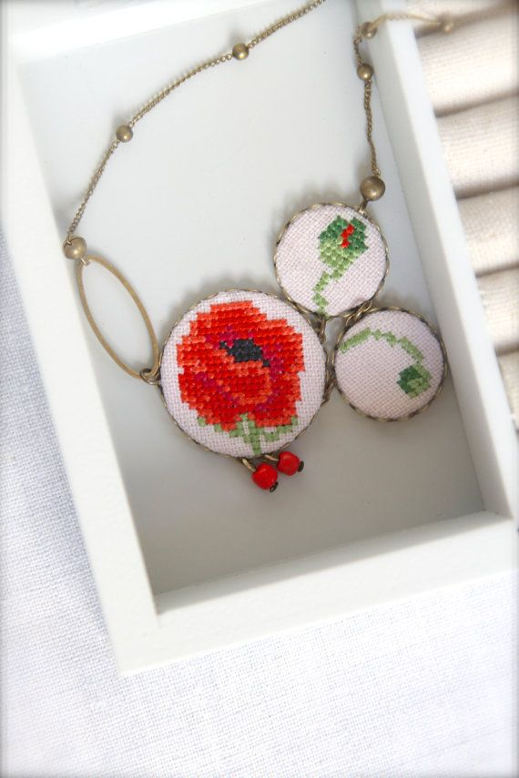Asymmetrical hand embroidered Poppy necklace - Red flower jewelry - Mother's day gift - Red -Green - Cross stitch necklace - Floral necklace