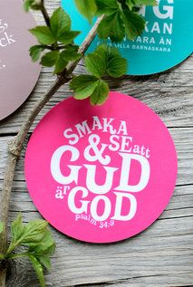 Knallrosa glasunderlägg: Smaka och se att Gud är god
