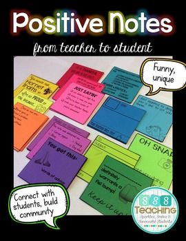These positive notes are just perfect for building classroom community!
